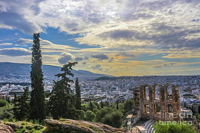 Digital Art - Looking Out Over The Cityscape Of Athens And Over The Odeon Of Herodes Atticus From The Acropolis Ne by Susan Vineyard