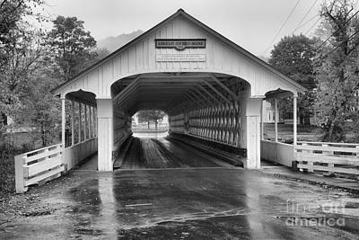 Photograph - Looking Through The Ashuelot Covered Bridge Black And White by Adam Jewell