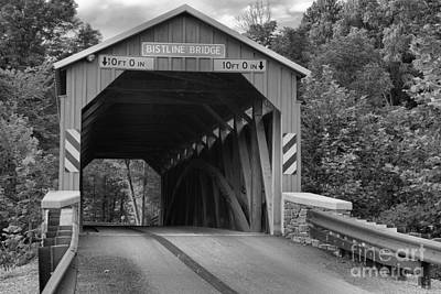 Photograph - Looking Through The Bistline Covered Bridge Black And White by Adam Jewell