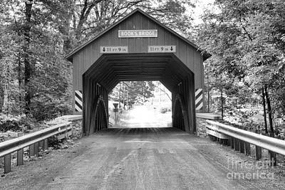 Photograph - Looking Through The Books Covered Bridge Black And White by Adam Jewell
