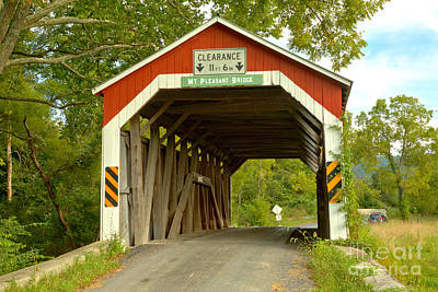 Photograph - Looking Through The Mt. Pleasant Covered Bridge by Adam Jewell