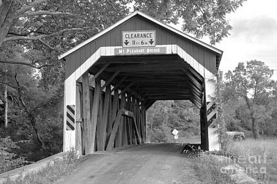 Photograph - Looking Through The Mt. Pleasant Covered Bridge Black And White by Adam Jewell