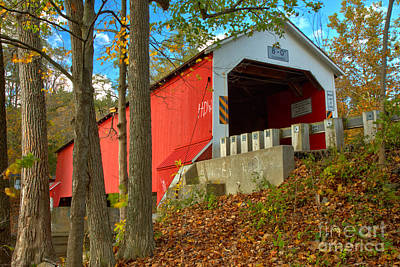 Photograph - Looking Up At The Eagleville Covered Bridge by Adam Jewell