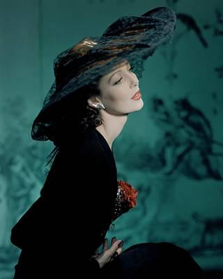 Photograph - Loretta Young In Lily Dache by Horst P. Horst