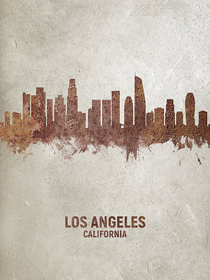 Digital Art - Los Angeles California Rust Skyline by Michael Tompsett