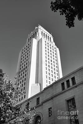 Photograph - Los Angeles City Hall Black White  by Chuck Kuhn