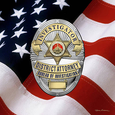 Digital Art - Los Angeles County District Attorney - Investigator Badge Over American Flag by Serge Averbukh