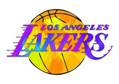 Recently Sold - Sports Royalty-Free and Rights-Managed Images - Los Angeles Lakers Paint Design by Ricky Barnard