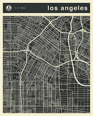 Los Angeles Wall Art - Digital Art - Los Angeles Map 3 by Jazzberry Blue