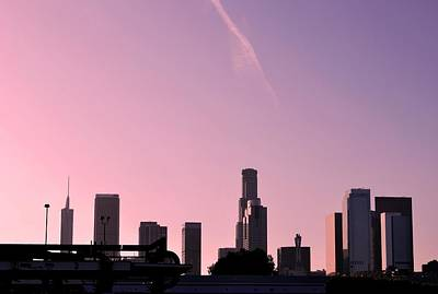 Photograph - Los Angeles Pink Sunset Skyline by Matt Harang