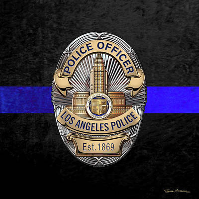 Digital Art - Los Angeles Police Department -  L A P D  Police Officer Badge Over The Thin Blue Line by Serge Averbukh