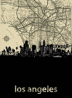 Skylines Royalty-Free and Rights-Managed Images - Los Angeles Skyline Amp by Bekim Art
