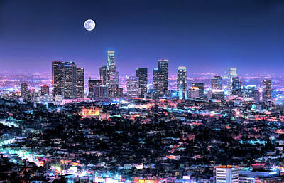 Painting - Los Angeles Skyline At Night by Christopher Arndt