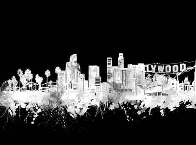 Skylines Royalty-Free and Rights-Managed Images - Los Angeles Skyline Black And White 2 by Bekim Art