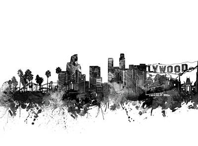Digital Art Royalty Free Images - Los Angeles Skyline Black And White Royalty-Free Image by Bekim Art