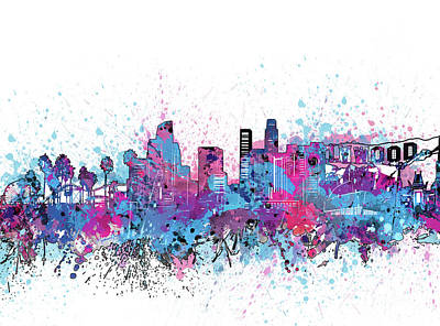Skylines Royalty-Free and Rights-Managed Images - Los Angeles Skyline Color Splatter by Bekim Art