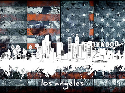 Skylines Royalty-Free and Rights-Managed Images - Los Angeles Skyline Flag 2 by Bekim Art