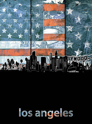 Digital Art - Los Angeles Skyline Flag 3 by Bekim Art