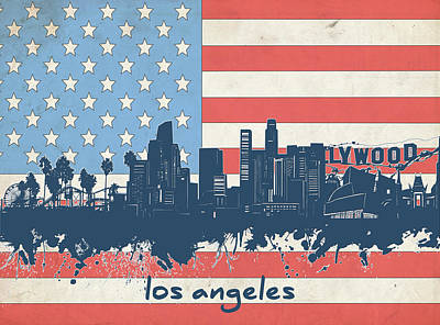 Digital Art - Los Angeles Skyline Flag by Bekim Art