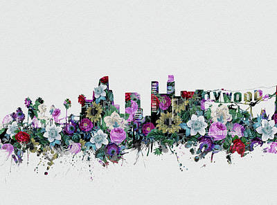 Digital Art - Los Angeles Skyline Floral 2 by Bekim Art