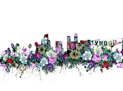 Skylines Royalty-Free and Rights-Managed Images - Los Angeles Skyline Floral by Bekim Art
