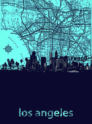 Skylines Royalty-Free and Rights-Managed Images - Los Angeles Skyline Map Blue 2 by Bekim Art