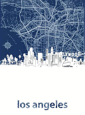 Digital Art - Los Angeles Skyline Map Blue by Bekim Art