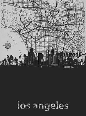 Skylines Royalty-Free and Rights-Managed Images - Los Angeles Skyline Map Grey by Bekim Art