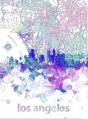 Skylines Royalty-Free and Rights-Managed Images - Los Angeles Skyline Map Poly by Bekim Art