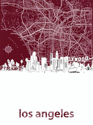 Skylines Royalty-Free and Rights-Managed Images - Los Angeles Skyline Map Red by Bekim Art