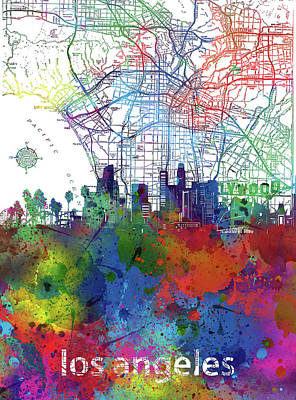 Skylines Royalty-Free and Rights-Managed Images - Los Angeles Skyline Map Watercolor 2 by Bekim Art