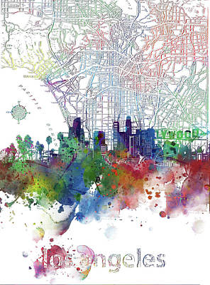 Abstract Skyline Royalty-Free and Rights-Managed Images - Los Angeles Skyline Map Watercolor 3 by Bekim M