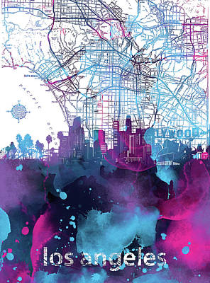 Skylines Royalty-Free and Rights-Managed Images - Los Angeles Skyline Map Watercolor by Bekim Art