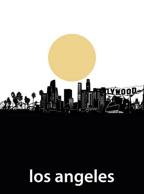 Skylines Royalty-Free and Rights-Managed Images - Los Angeles Skyline Minimalism by Bekim Art