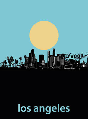 Digital Art - Los Angeles Skyline Minimalism Blue by Bekim Art