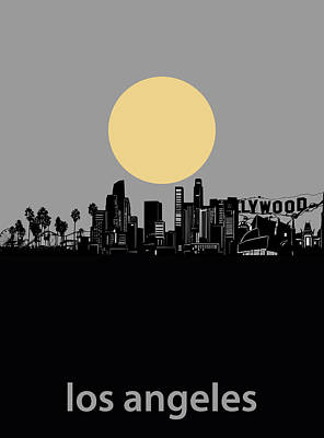 Digital Art - Los Angeles Skyline Minimalism Grey by Bekim Art