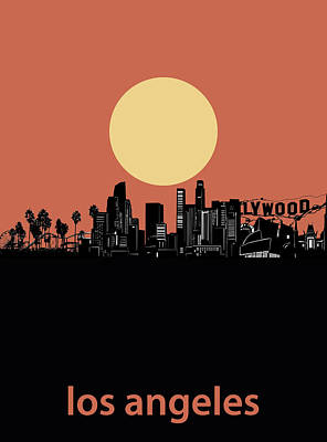 Skylines Royalty-Free and Rights-Managed Images - Los Angeles Skyline Minimalism Red by Bekim Art