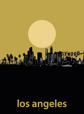 Digital Art - Los Angeles Skyline Minimalism Yellow by Bekim Art