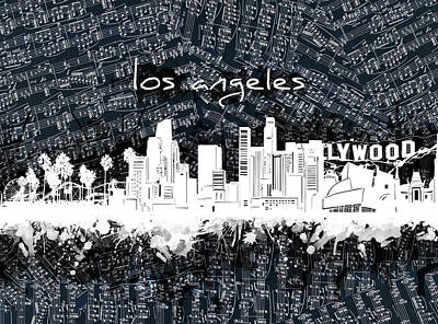 Abstract Skyline Royalty-Free and Rights-Managed Images - Los Angeles Skyline Music Sheet 2 by Bekim M