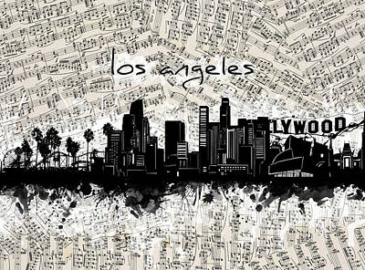 Digital Art - Los Angeles Skyline Music Sheet by Bekim Art