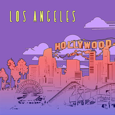 Digital Art - Los Angeles Skyline Panorama Purple by Bekim Art