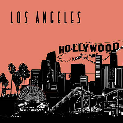 Skylines Royalty-Free and Rights-Managed Images - Los Angeles Skyline Panorama Red by Bekim Art
