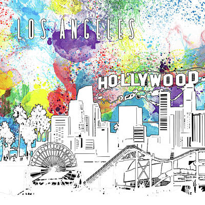 Digital Art - Los Angeles Skyline Panorama Watercolor by Bekim Art