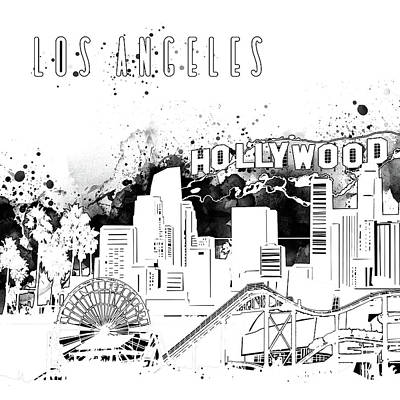 Digital Art - Los Angeles Skyline Panorama White by Bekim Art