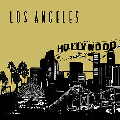 Digital Art - Los Angeles Skyline Panorama Yellow by Bekim Art