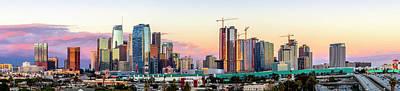 Photograph - Los Angeles Skyline Sunset - Panorama by Gene Parks