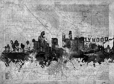 Skylines Royalty-Free and Rights-Managed Images - Los Angeles Skyline Vintage 2 by Bekim Art