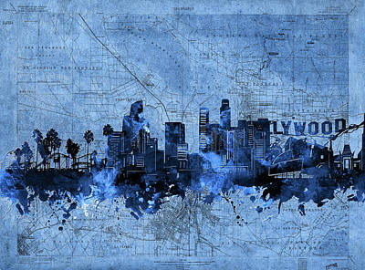Abstract Skyline Royalty-Free and Rights-Managed Images - Los Angeles Skyline Vintage Blue by Bekim M