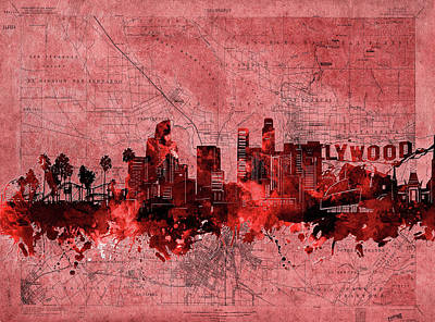 Abstract Skyline Royalty-Free and Rights-Managed Images - Los Angeles Skyline Vintage Red by Bekim M