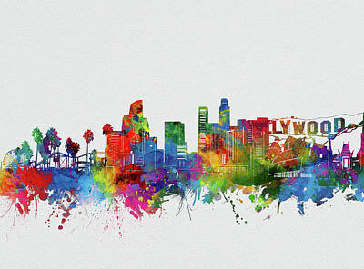 Skylines Royalty-Free and Rights-Managed Images - Los Angeles Skyline Watercolor 2 by Bekim Art